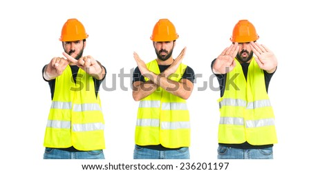 Set of Workman making stop sign over white background - stock photo