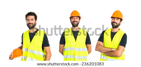 Set of Workman with his arms crossed over white background - stock photo
