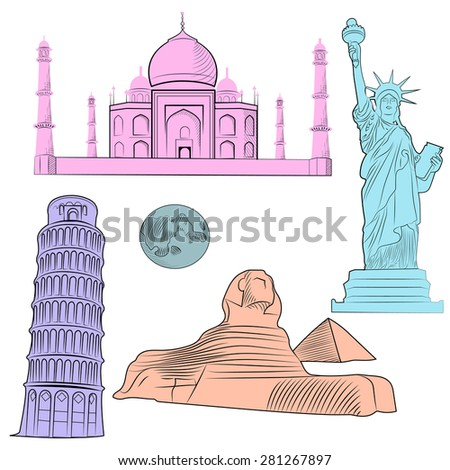 Set of world famous architectural landmarks of various countries, multicolored with detailed.  illustration - stock photo