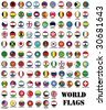 set of 115 world most important flags - stock photo