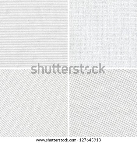 Set of woven white fabric texture - stock photo