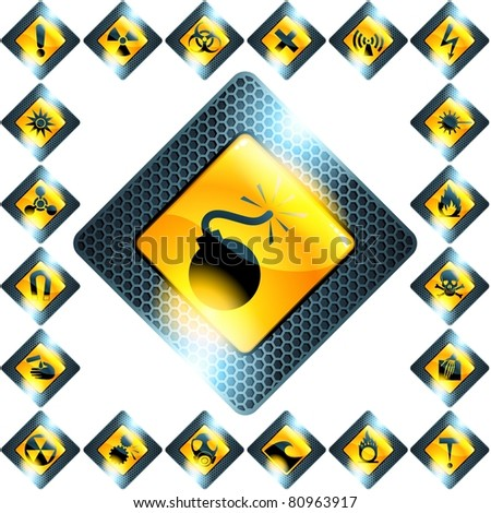 Set of 21 yellow hazard signs (jpg); vector version also available - stock photo