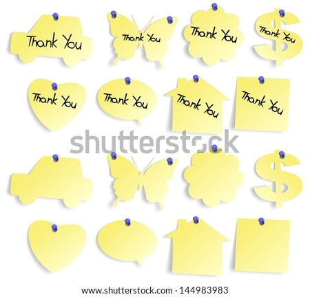 Set of yellow sticky notes blank and with thank you note / Thank you notes set - stock photo