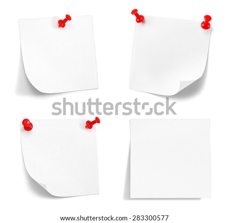set of yellow sticky notes with shade on white - stock photo