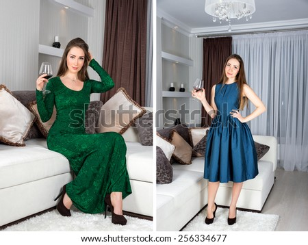 Set of young woman portraits. Beautiful stylish girl with long hair in luxury interior posing in stunning evening or cocktail dress with glass of red wine in her hand. Ready for party - stock photo