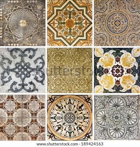 set old ornamental vintage tile - stock photo