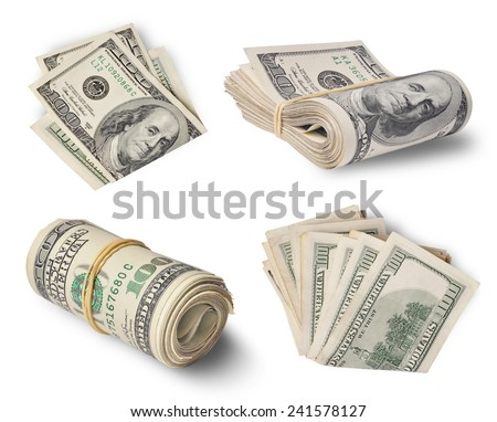 Set one hundred dollar bills isolated on white background  - stock photo