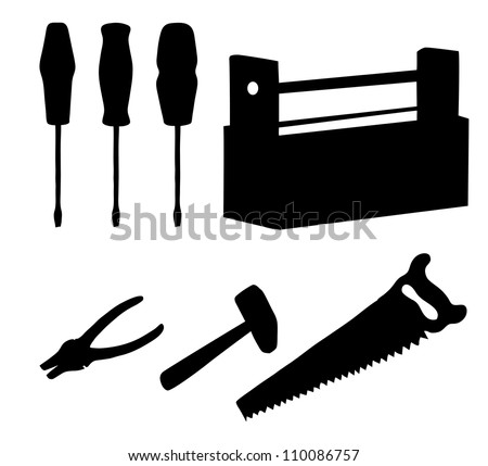 Set operating tools: hammers, saws, pliers, screwdrivers and wooden box, black silhouette on white background - stock photo