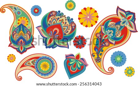 set os traditional Asian elements Paisley - stock photo