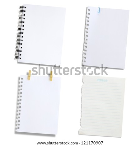 Set  paper notes on a white background - stock photo