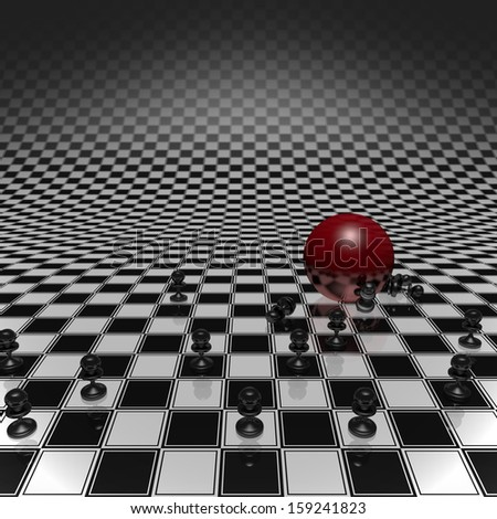 Set pawns and red ball on a chessboard infinitely large - stock photo