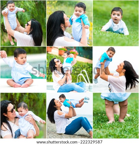 Set photos of a beautiful Hispanic woman and her young son - stock photo