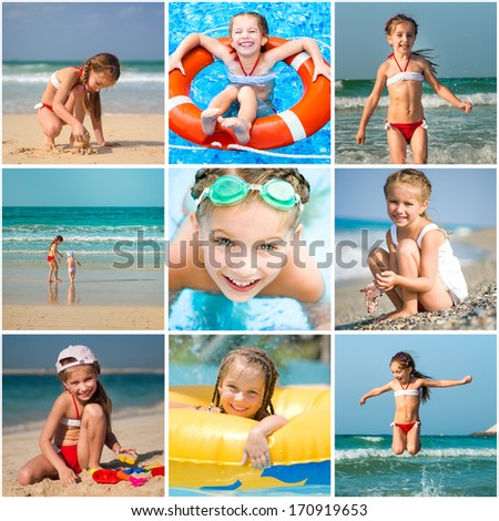 Set photos of a little girl summer vacation - stock photo