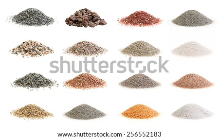 Set photos of decorative soil and sand isolated from different parts of the world on a white background. - stock photo