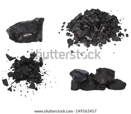 Set pile black coal isolated on white background - stock photo