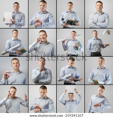 Set portrait of young businessman engaged in different activities and with different emotions - stock photo