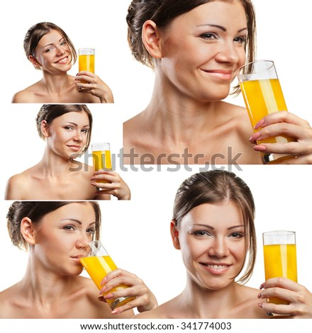 Set portraits of attractive  caucasian smiling woman drinking orange juice on white background - stock photo