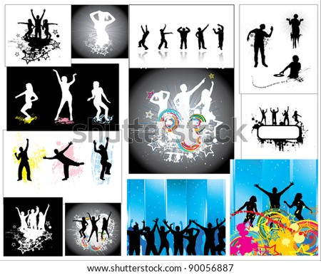 Set Posters of the dancing people. - stock photo
