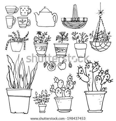 Set potted flowers sketch black line, flowers in pots - stock photo