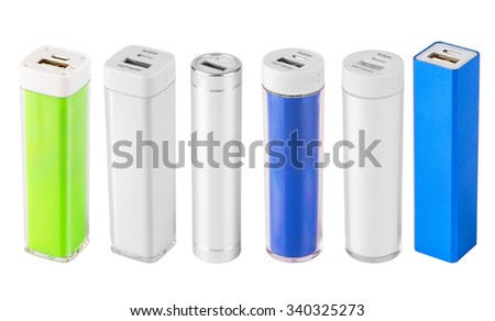 set power bank. Isolated on white background - stock photo