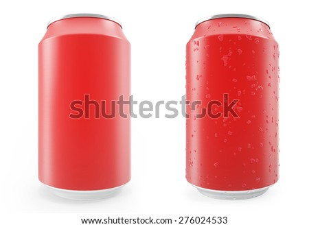 Set red aluminum cans, wet with drops and without, isolated on white background. 3d illustration - stock photo