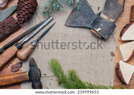 Set retro carpentry tools on the table.  Top view. - stock photo