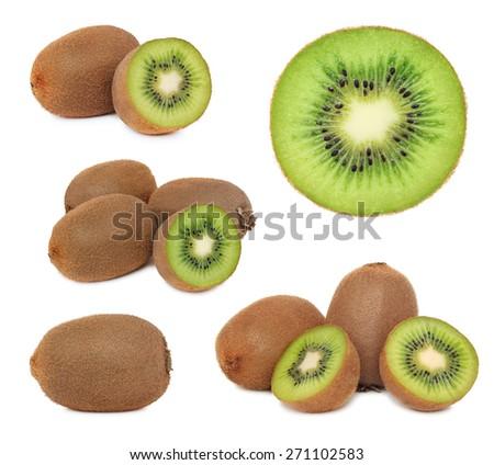 Set ripe kiwi isolated on white background - stock photo