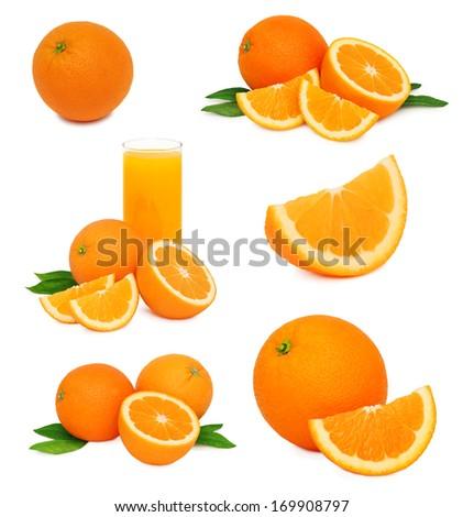 Set ripe orange fruits with green leaves isolated on white background - stock photo