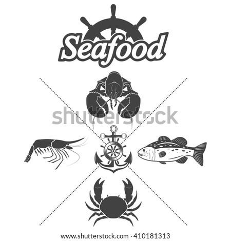 Set seafood symbols on a white background - stock photo