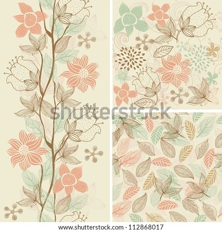 set seamless floral pattern - stock photo