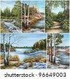 Set Siberian landscapes, Russia. Picture, hand-draw, oil paints on a canvas - stock photo