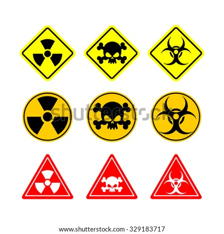 Set sign Biohazard, toxicity, dangerous. Yellow signs of various shapes: circle, square and triangle. - stock photo