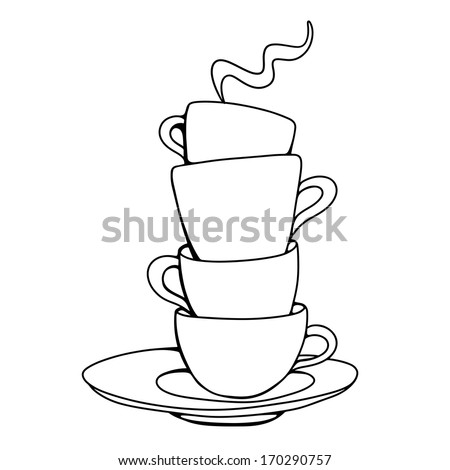 Set sketch cups and saucer isolated. Abstract design logo. Logotype art - raster version - stock photo