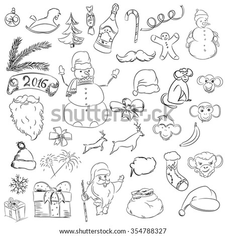 Set sketch things for christmas and new year. Raster santa claus and snowman and monkey and other things.Doodle collection gift and bow  - stock photo
