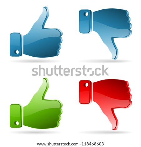 Set Social Media Sticker with Like and Unlike Icon, isolated on white - stock photo