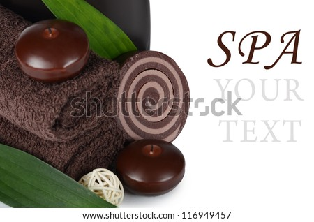 Set Spa treatment isolated on white background - stock photo