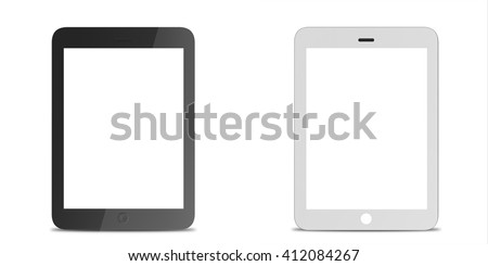 Set tablet computer, electronic device isolated on white background. 3D illustration - stock photo