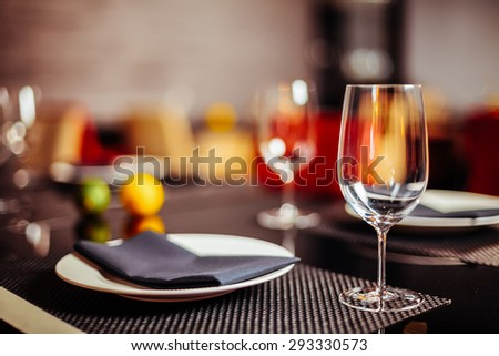Set the table in the restaurant - stock photo