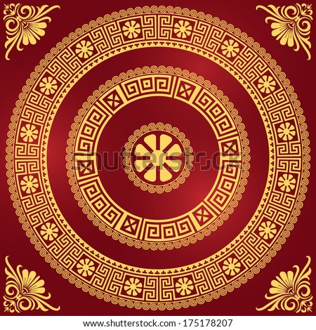 set Traditional vintage golden square and round Greek ornament (Meander) and floral pattern on a red background - stock photo