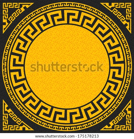 set Traditional vintage golden square and round Greek ornament (Meander)   on a black background - stock photo