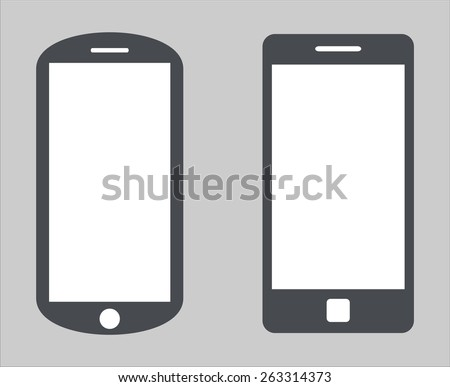 Set 1. Variety of modern black icon silhouette smartphone mobile tablet pc with blank screen isolated on white background. illustration  - stock photo
