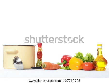 Set vegetables for soup isolated on white - stock photo