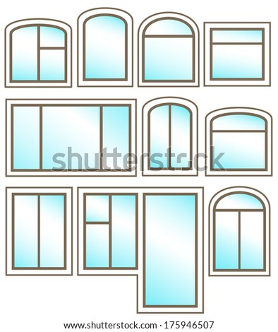 set windows icon with glossy glass on white background - stock photo