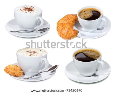 set with cups of coffee on white background - stock photo