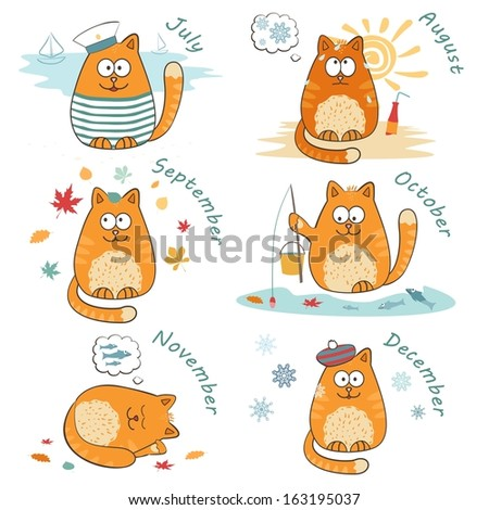 set with cute bright cats.  - stock photo