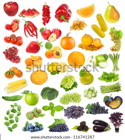 set with fruits, berries and herbs on white background - stock photo
