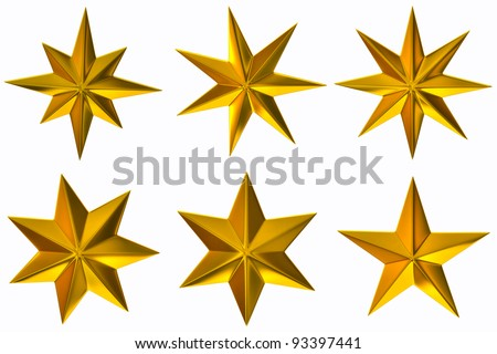 Set with gold stars on white background - stock photo