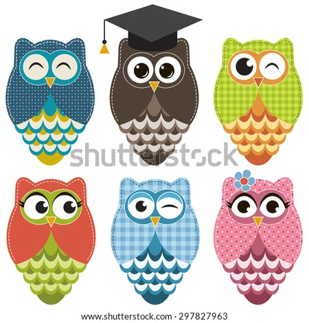 Set with owls. Raster version - stock photo