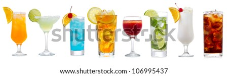 set with various cocktails on white background - stock photo