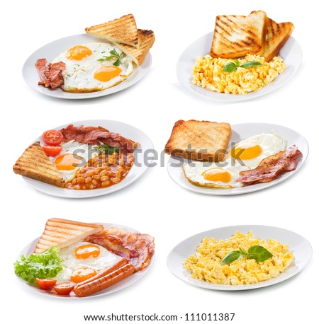 set with various plates of fried and scrambled eggs on white background - stock photo